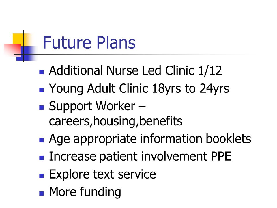 Future Plans Additional Nurse Led Clinic 1/12 Young Adult Clinic 18yrs to 24yrs Support Worker – careers,housing,benefits Age appropriate information booklets Increase patient involvement PPE Explore text service More funding