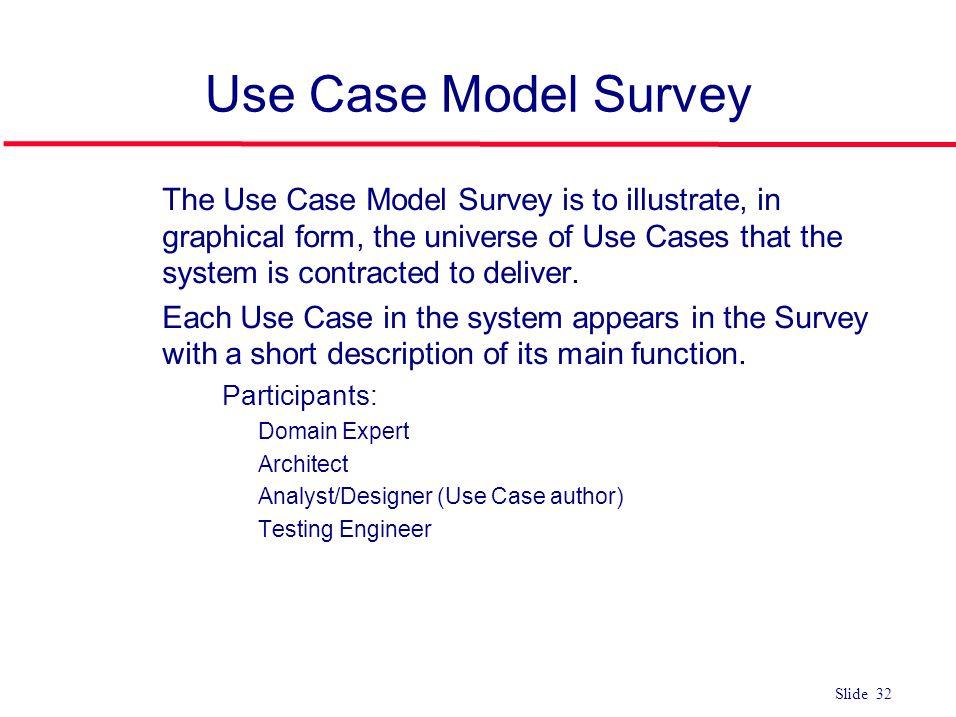 ©Ian Sommerville 2004Software Engineering, 7th edition. Chapter 4 Slide 32 Slide 32 Use Case Model Survey l The Use Case Model Survey is to illustrate