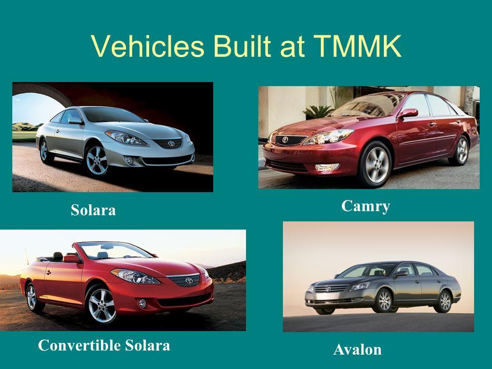 Vehicles Built at TMMK Solara Camry Convertible Solara Avalon