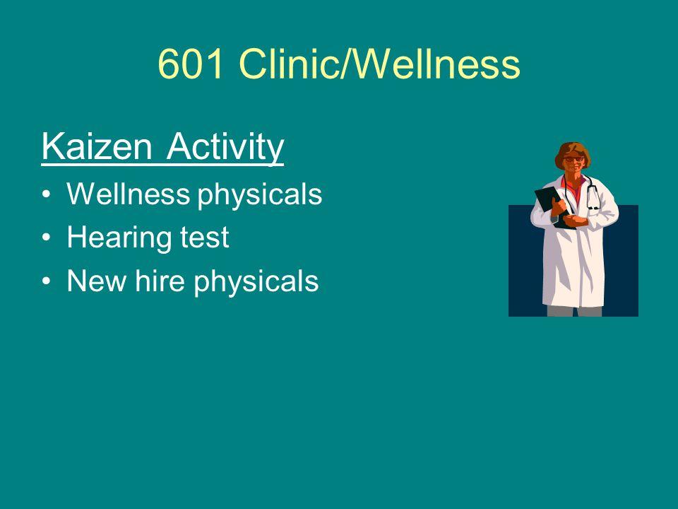 601 Clinic/Wellness Kaizen Activity Wellness physicals Hearing test New hire physicals