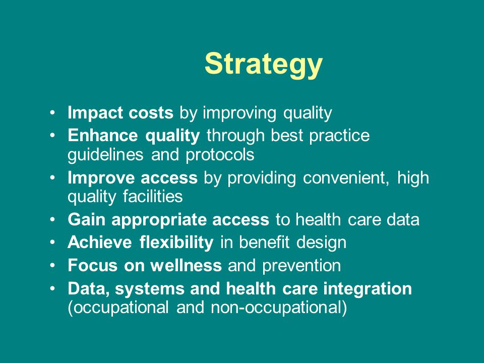 Strategy Impact costs by improving quality Enhance quality through best practice guidelines and protocols Improve access by providing convenient, high