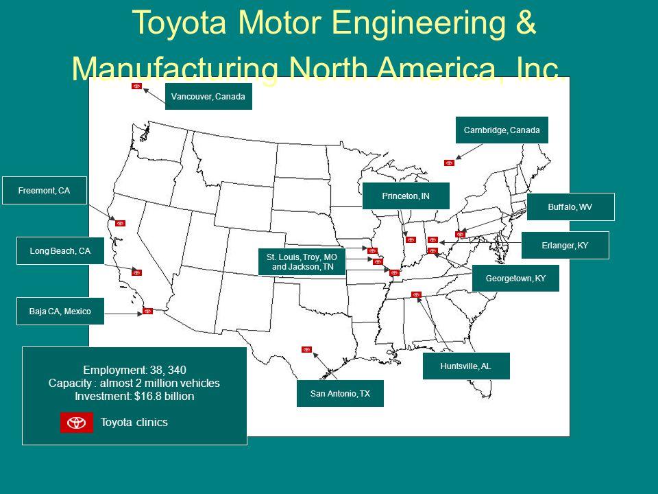 Employment: 38, 340 Capacity : almost 2 million vehicles Investment: $16.8 billion Toyota clinics San Antonio, TX Huntsville, AL Georgetown, KY Erlang