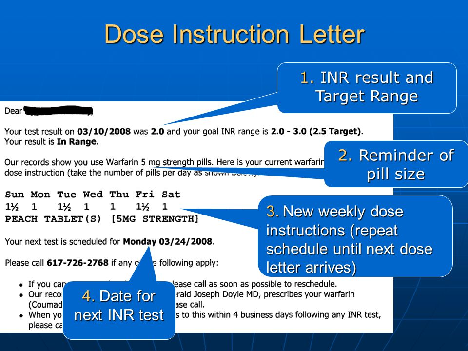 2. Reminder of pill size Dose Instruction Letter 1. INR result and Target Range 3. New weekly dose instructions (repeat schedule until next dose lette