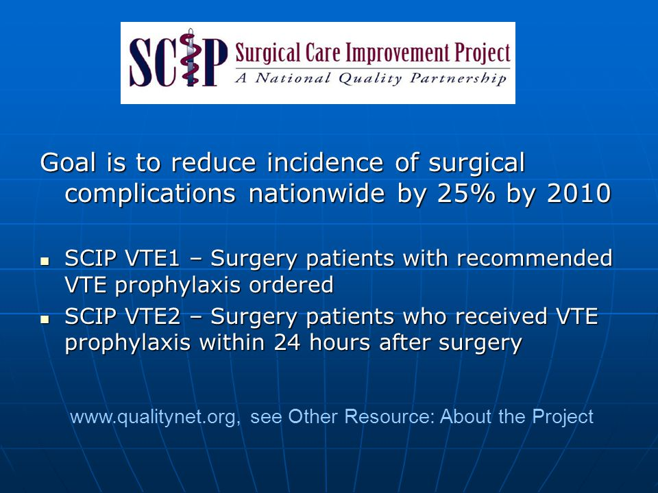 Goal is to reduce incidence of surgical complications nationwide by 25% by 2010 SCIP VTE1 – Surgery patients with recommended VTE prophylaxis ordered
