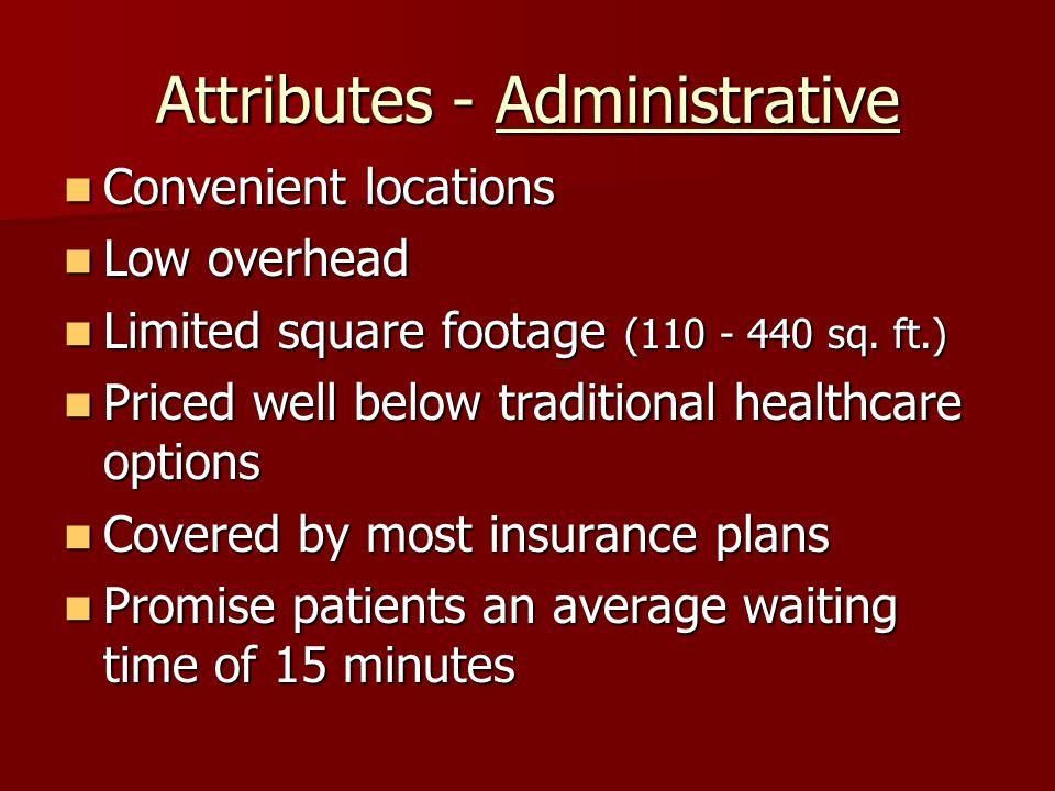 Attributes - Administrative Convenient locations Convenient locations Low overhead Low overhead Limited square footage (110 - 440 sq.