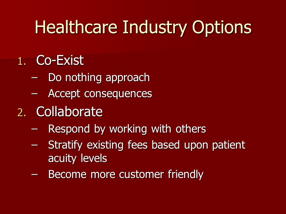Healthcare Industry Options 1. Co-Exist –Do nothing approach –Accept consequences 2.