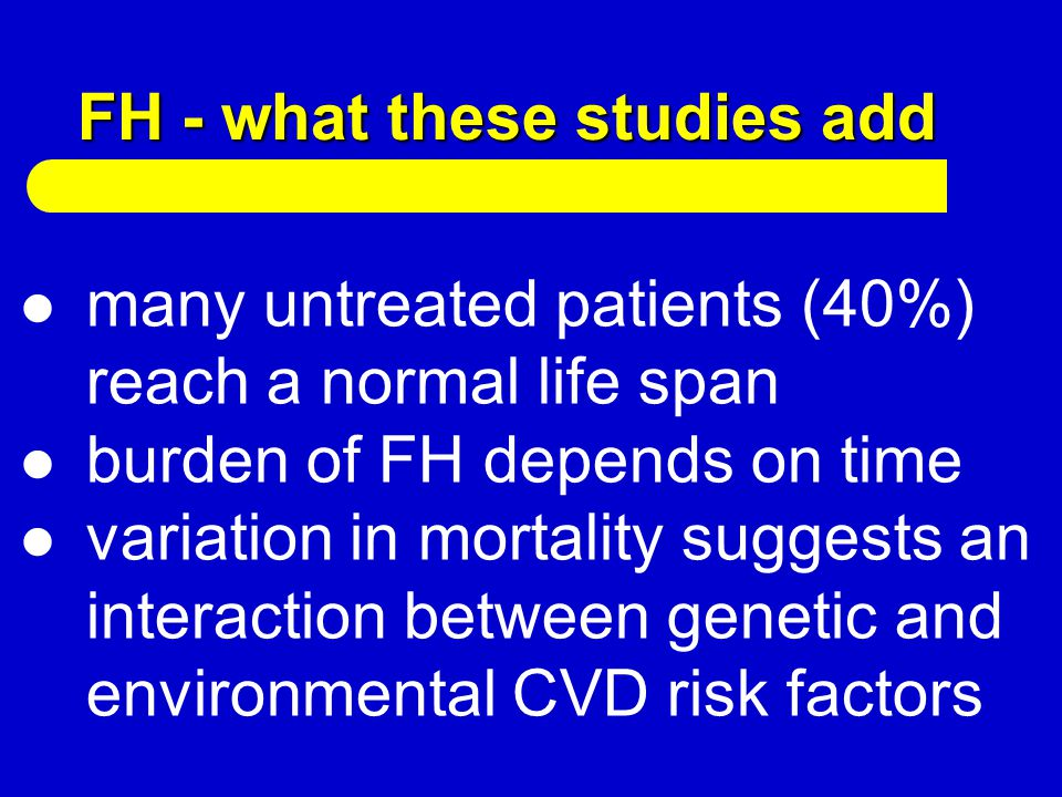 FH - what these studies add many untreated patients (40%) reach a normal life span burden of FH depends on time variation in mortality suggests an int