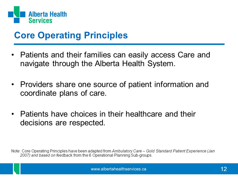 12 Core Operating Principles Patients and their families can easily access Care and navigate through the Alberta Health System.