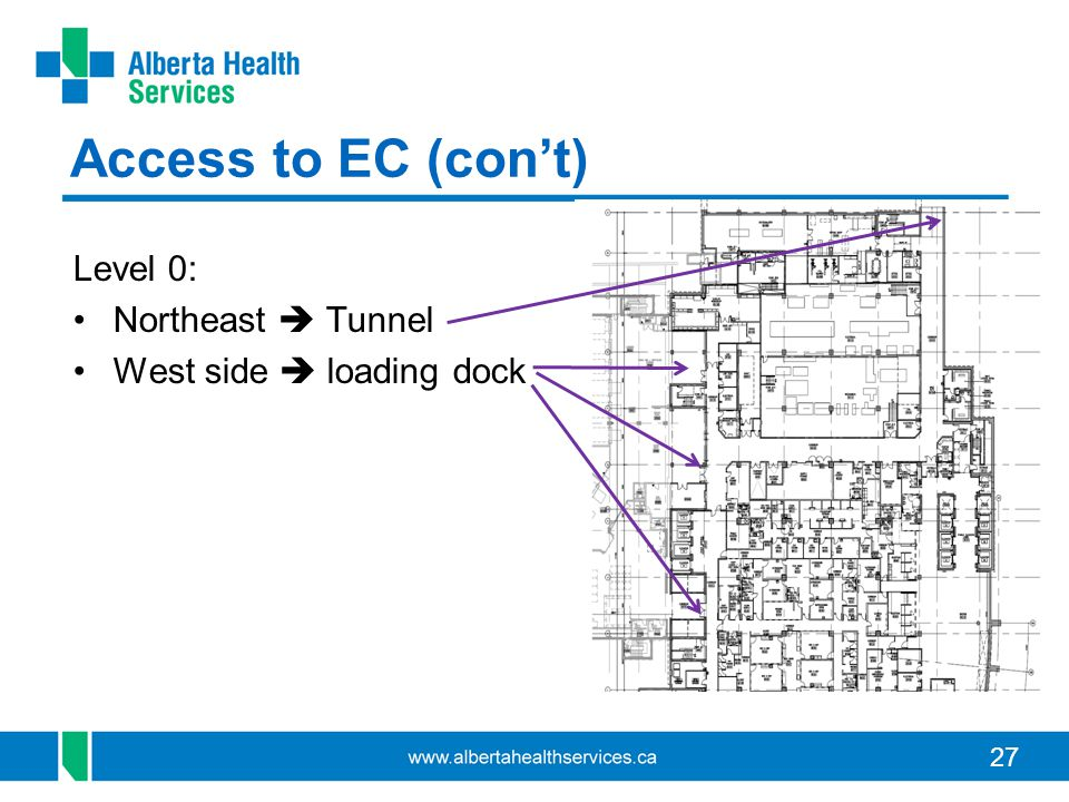27 Access to EC (cont) Level 0: Northeast Tunnel West side loading dock