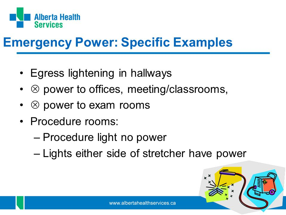 40 Emergency Power: Specific Examples Egress lightening in hallways power to offices, meeting/classrooms, power to exam rooms Procedure rooms: –Procedure light no power –Lights either side of stretcher have power