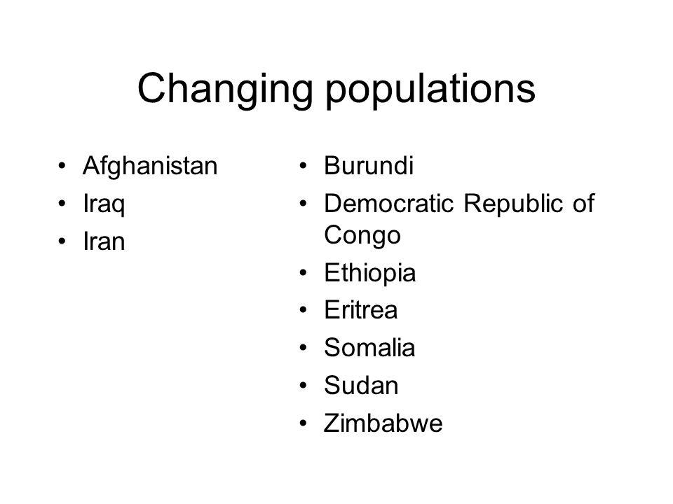 Changing populations Afghanistan Iraq Iran Burundi Democratic Republic of Congo Ethiopia Eritrea Somalia Sudan Zimbabwe