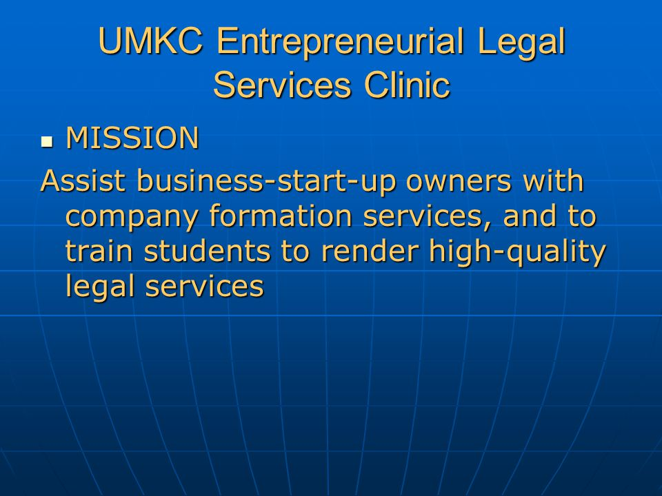 UMKC ELS Clinic Draft co-ownership agreements among multiple owners Practical Skills: interview, marshall, educate, analyze choice, draft documents Practical Skills: interview, marshall, educate, analyze choice, draft documents Learn to fit the form to the business deal (not the deal to the form) Learn to fit the form to the business deal (not the deal to the form)