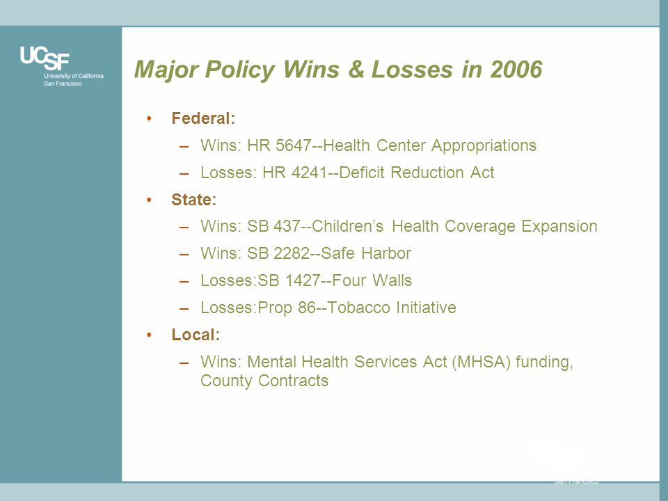 Major Policy Wins & Losses in 2006 Federal: –Wins: HR 5647--Health Center Appropriations –Losses: HR 4241--Deficit Reduction Act State: –Wins: SB 437--Childrens Health Coverage Expansion –Wins: SB 2282--Safe Harbor –Losses:SB 1427--Four Walls –Losses:Prop 86--Tobacco Initiative Local: –Wins: Mental Health Services Act (MHSA) funding, County Contracts