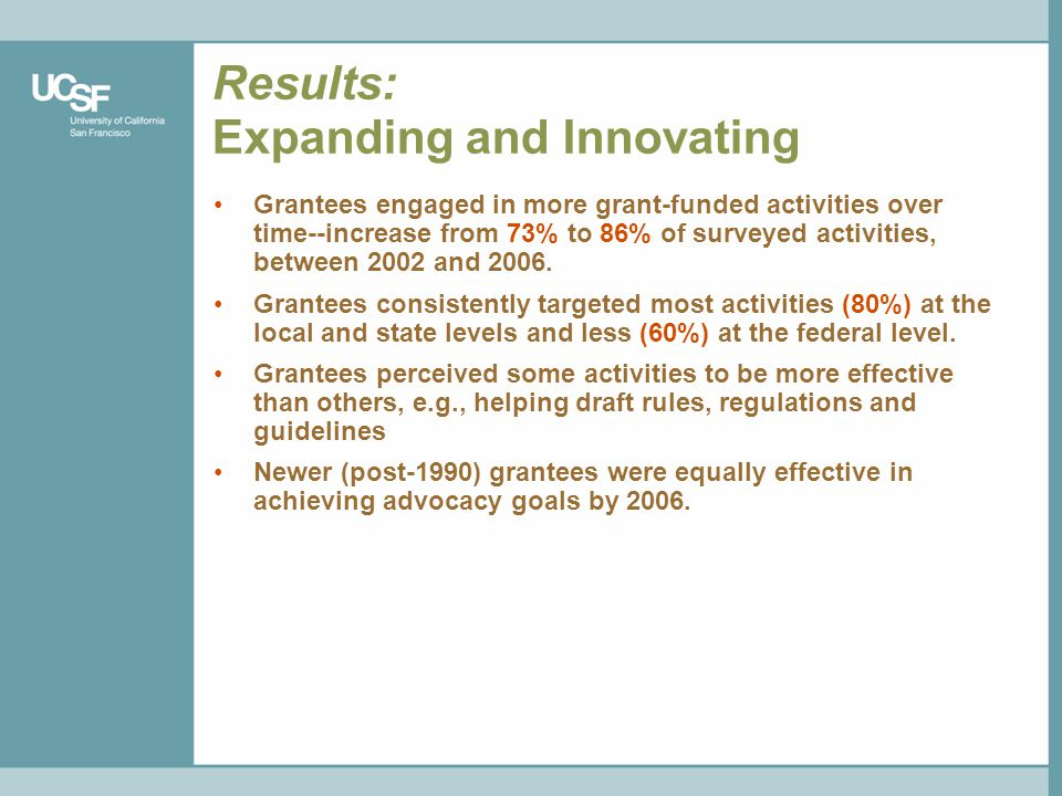 Results: Expanding and Innovating Grantees engaged in more grant-funded activities over time--increase from 73% to 86% of surveyed activities, between 2002 and 2006.