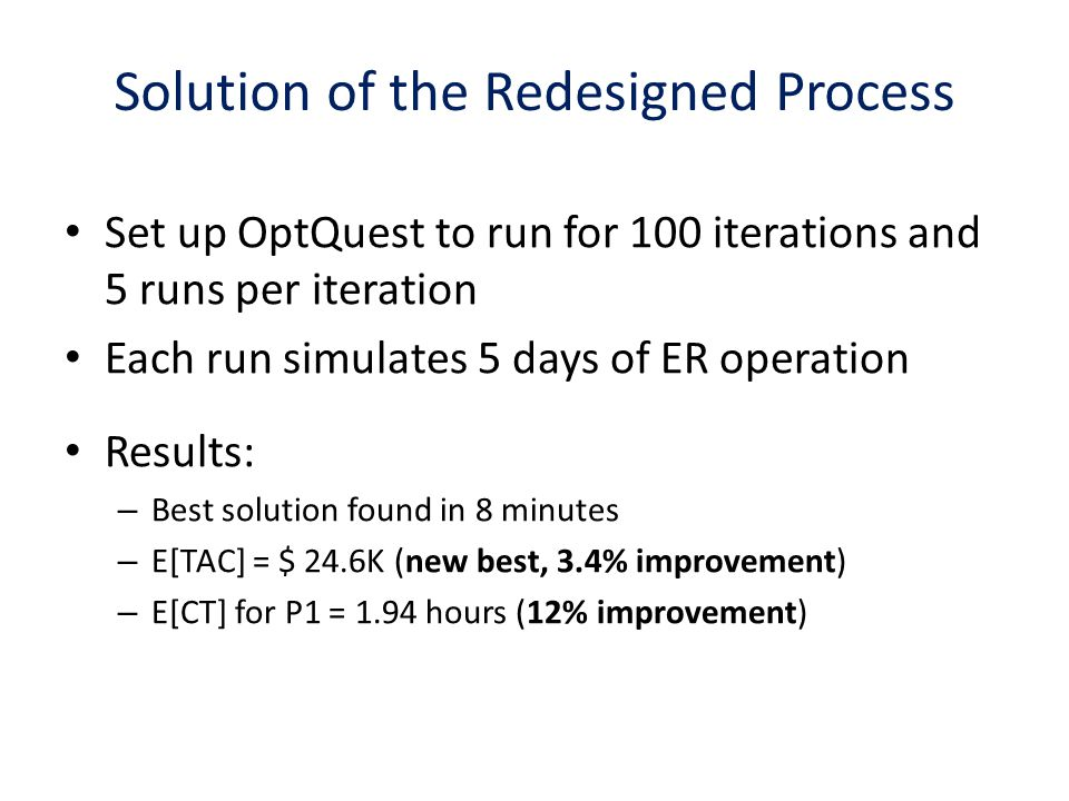 Solution of the Redesigned Process Set up OptQuest to run for 100 iterations and 5 runs per iteration Each run simulates 5 days of ER operation Results: – Best solution found in 8 minutes – E[TAC] = $ 24.6K (new best, 3.4% improvement) – E[CT] for P1 = 1.94 hours (12% improvement)