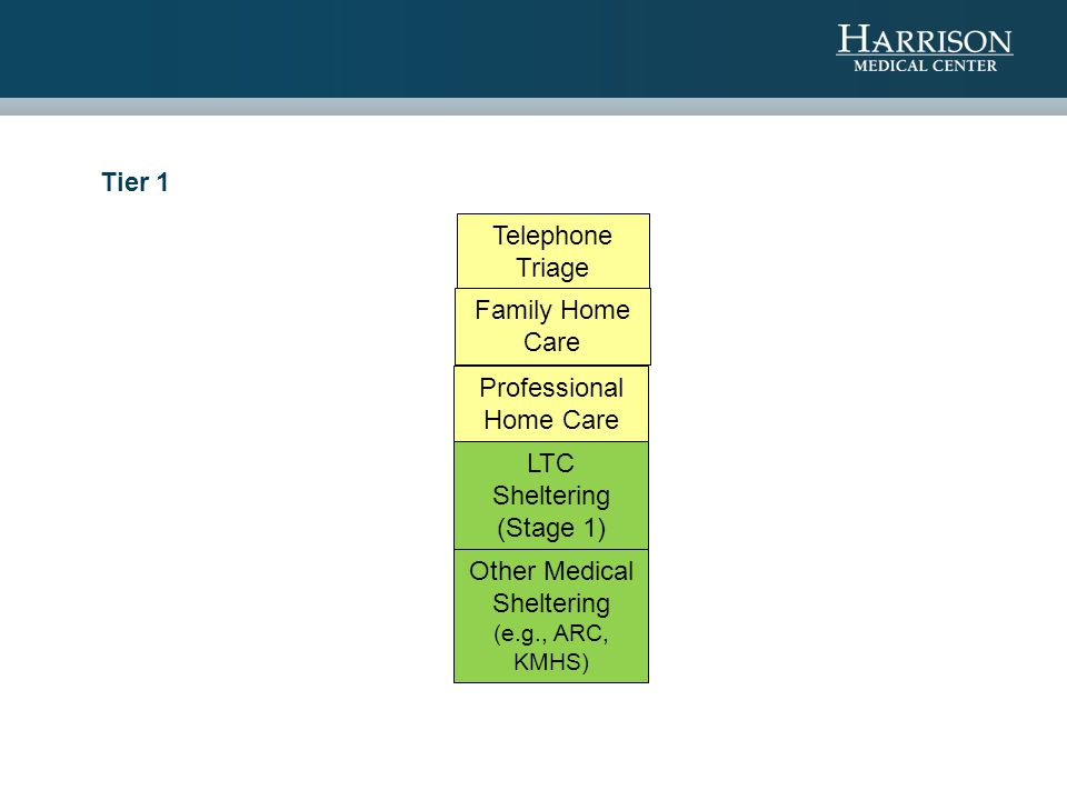 Tier 1 Telephone Triage Family Home Care Professional Home Care LTC Sheltering (Stage 1) Other Medical Sheltering (e.g., ARC, KMHS)