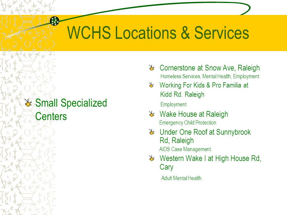 WCHS Locations & Services Small Specialized Centers Cornerstone at Snow Ave, Raleigh Homeless Services, Mental Health, Employment Working For Kids & Pro Familia at Kidd Rd.
