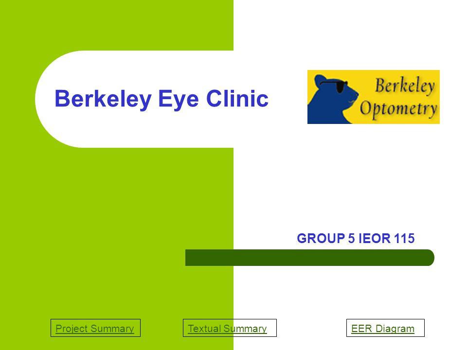 Project SummaryTextual SummaryEER Diagram Berkeley Eye Clinic GROUP 5 IEOR 115