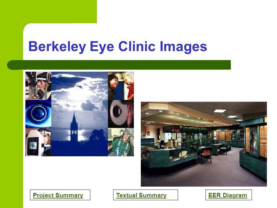 Project SummaryTextual SummaryEER Diagram Berkeley Eye Clinic Images