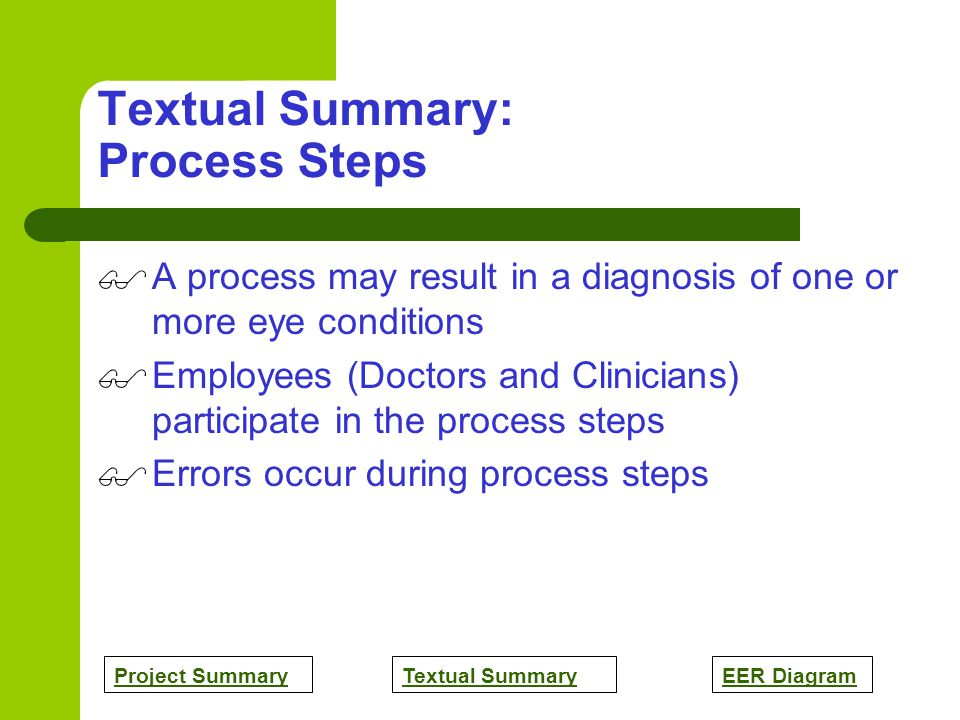Project SummaryTextual SummaryEER Diagram Textual Summary: Process Steps A process may result in a diagnosis of one or more eye conditions Employees (Doctors and Clinicians) participate in the process steps Errors occur during process steps