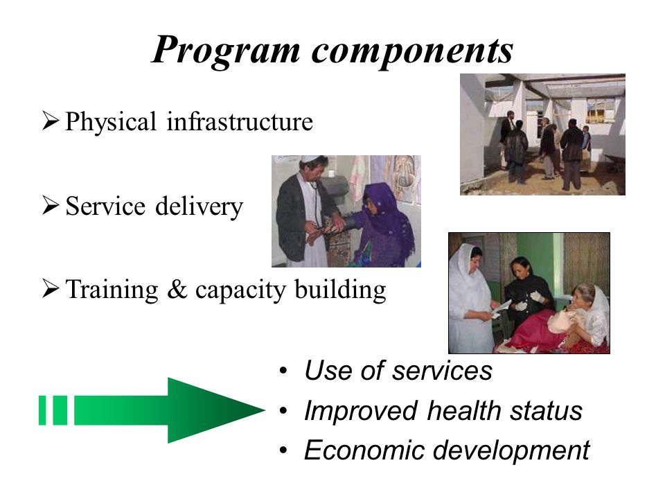 Program components Physical infrastructure Service delivery Training & capacity building Use of services Improved health status Economic development