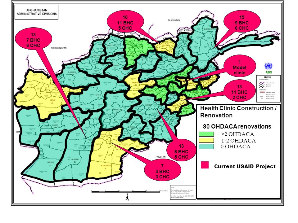 Current USAID Project Health Clinic Construction / Renovation 1-2 OHDACA >2 OHDACA 0 OHDACA 16 11 BHC 5 CHC 15 9 BHC 6 CHC 1 Model clinic 13 7 BHC 6 CHC 7 4 BHC 3 CHC 13 8 BHC 5 CHC 13 11 BHC 2 CHC 80 OHDACA renovations