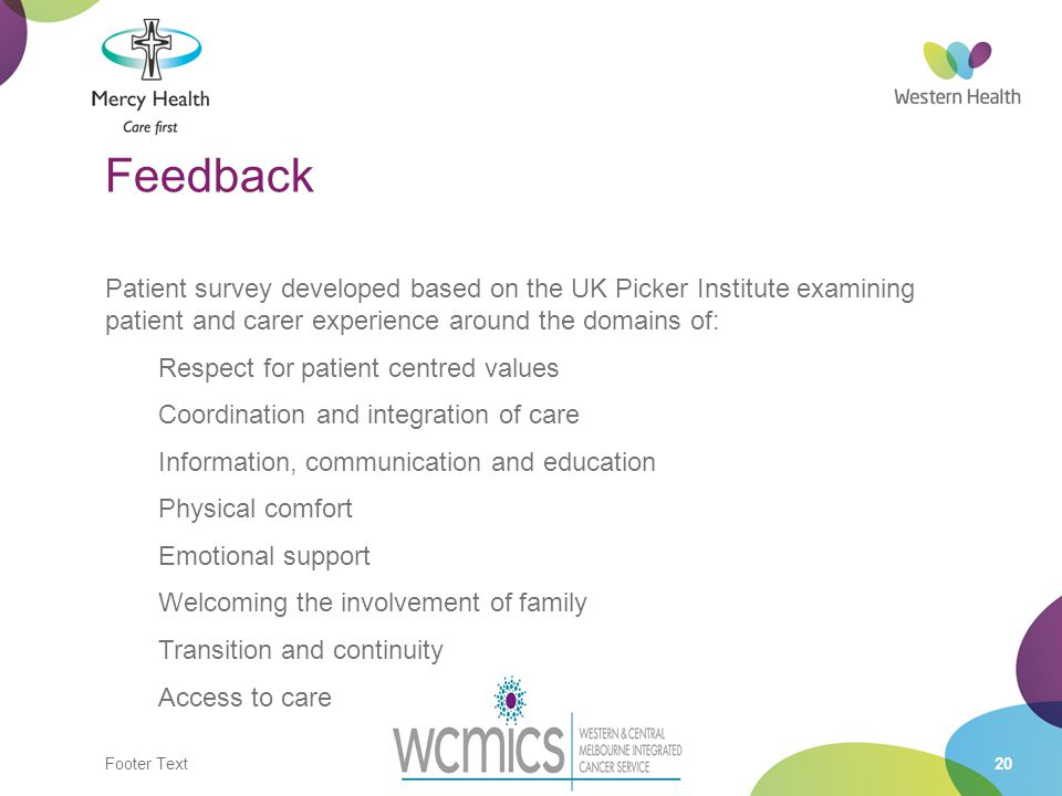 Footer Text20 Feedback Patient survey developed based on the UK Picker Institute examining patient and carer experience around the domains of: Respect for patient centred values Coordination and integration of care Information, communication and education Physical comfort Emotional support Welcoming the involvement of family Transition and continuity Access to care