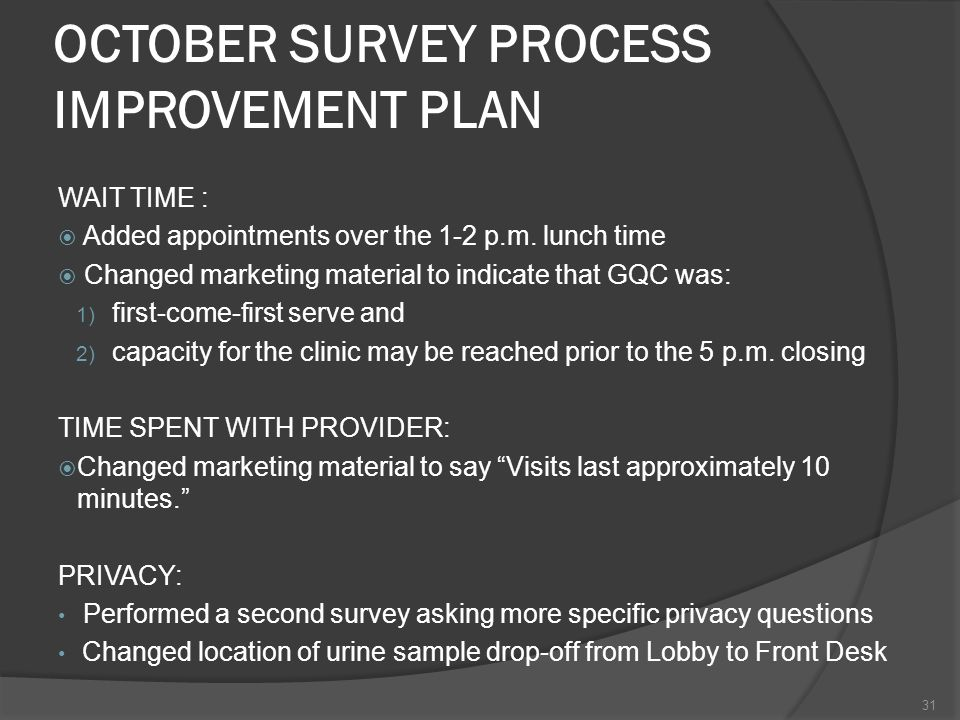 OCTOBER SURVEY PROCESS IMPROVEMENT PLAN WAIT TIME : Added appointments over the 1-2 p.m.