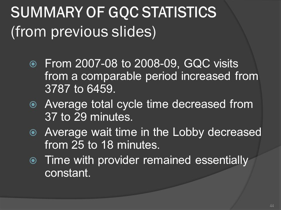 SUMMARY OF GQC STATISTICS (from previous slides) From 2007-08 to 2008-09, GQC visits from a comparable period increased from 3787 to 6459.