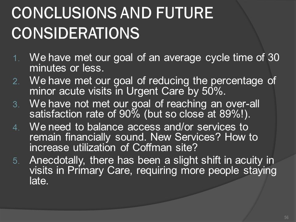 CONCLUSIONS AND FUTURE CONSIDERATIONS 1.