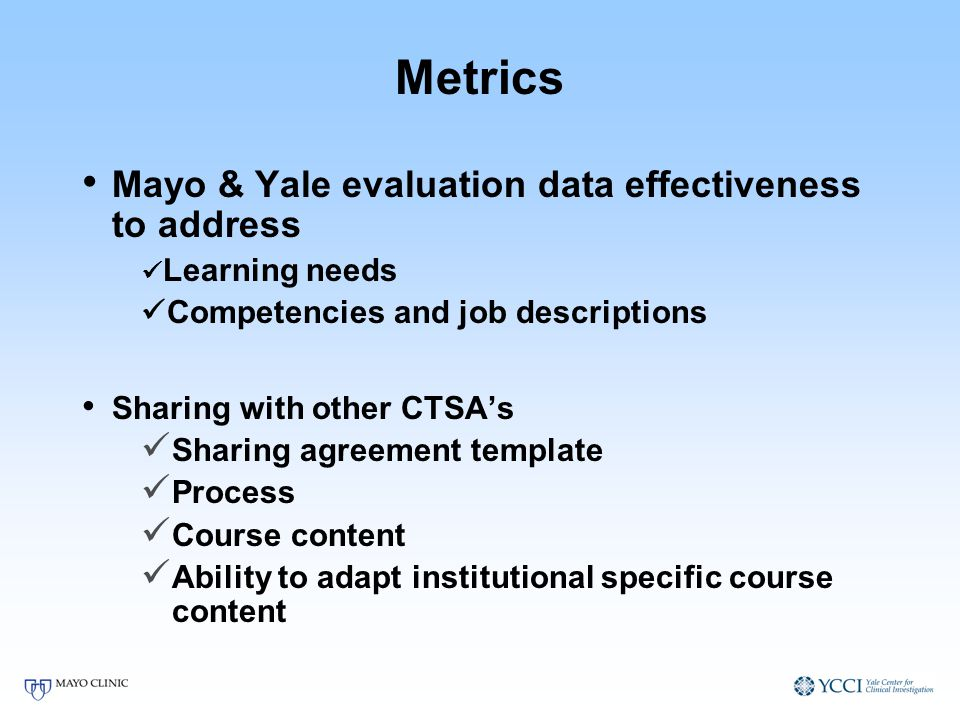 Metrics Mayo & Yale evaluation data effectiveness to address Learning needs Competencies and job descriptions Sharing with other CTSAs Sharing agreeme