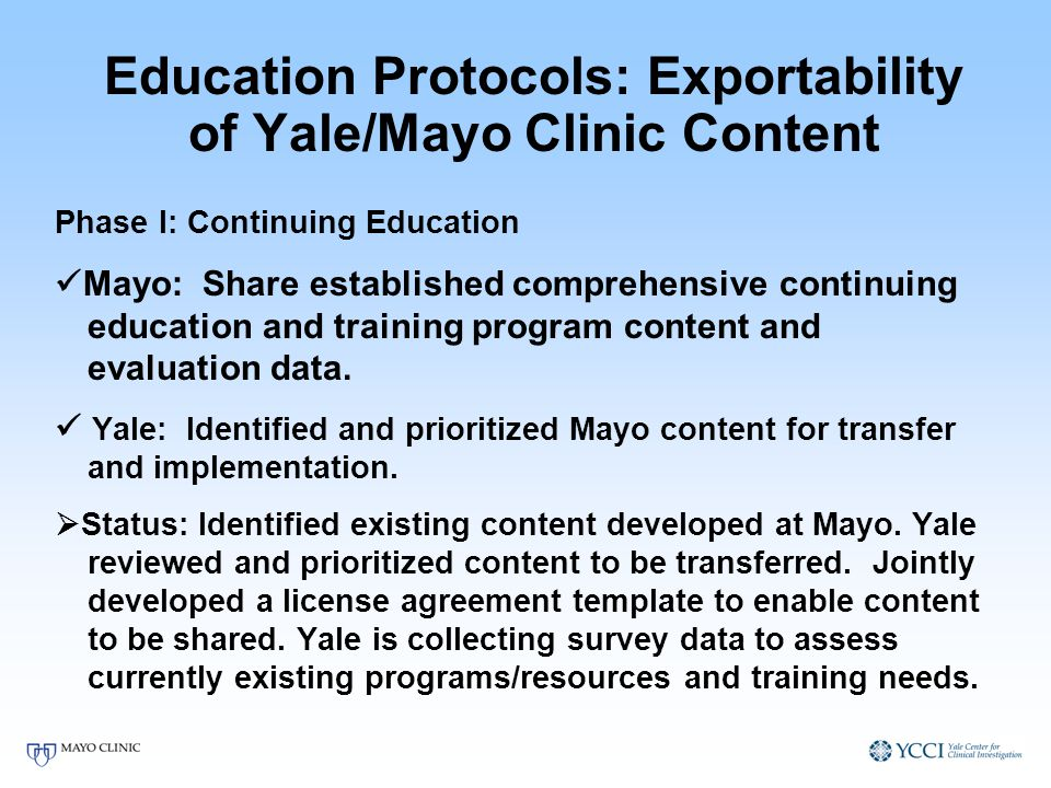 Education Protocols: Exportability of Yale/Mayo Clinic Content Phase I: Continuing Education Mayo: Share established comprehensive continuing educatio