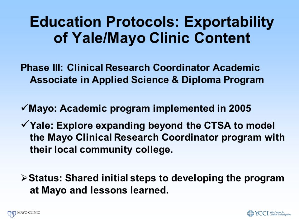 Education Protocols: Exportability of Yale/Mayo Clinic Content Phase III: Clinical Research Coordinator Academic Associate in Applied Science & Diplom