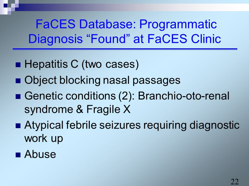 22 FaCES Database: Programmatic Diagnosis Found at FaCES Clinic Hepatitis C (two cases) Object blocking nasal passages Genetic conditions (2): Branchio-oto-renal syndrome & Fragile X Atypical febrile seizures requiring diagnostic work up Abuse