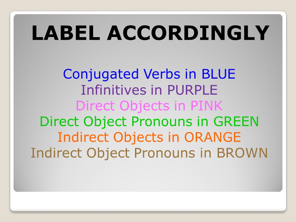 LABEL ACCORDINGLY Conjugated Verbs in BLUE Infinitives in PURPLE Direct Objects in PINK Direct Object Pronouns in GREEN Indirect Objects in ORANGE Indirect Object Pronouns in BROWN