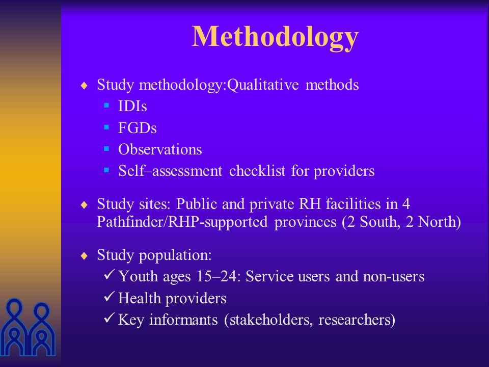 Objectives of Study Explore factors which affect youths decision to use or not use RH services (public & private) Identify subjective and objective factors influencing providers readiness to offer quality RH services to youth Form the concept of Youth Friendly Services from the point of view of young people