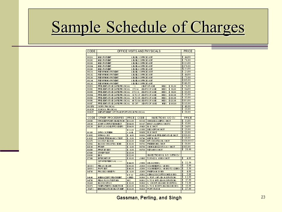 23 Sample Schedule of Charges Gassman, Perling, and Singh