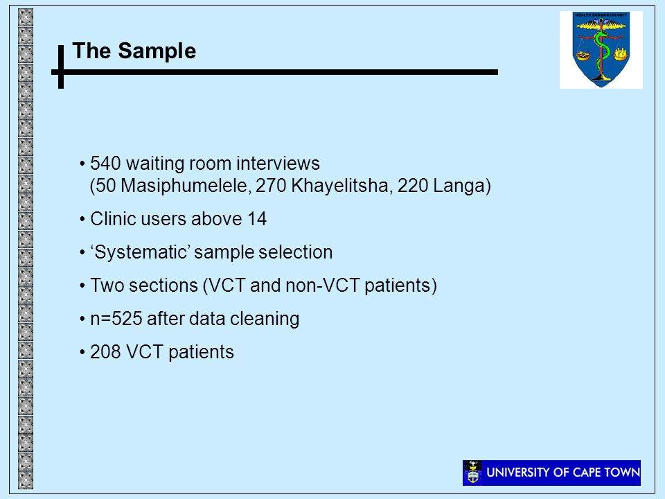 The Sample 540 waiting room interviews (50 Masiphumelele, 270 Khayelitsha, 220 Langa) Clinic users above 14 Systematic sample selection Two sections (VCT and non-VCT patients) n=525 after data cleaning 208 VCT patients