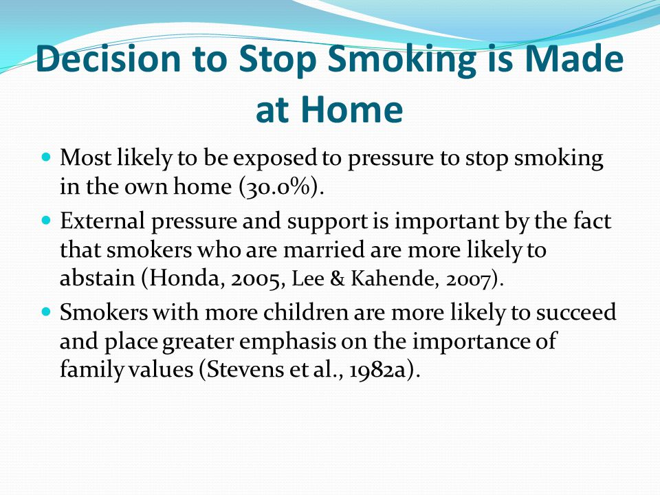 Decision to Stop Smoking is Made at Home Most likely to be exposed to pressure to stop smoking in the own home (30.0%). External pressure and support
