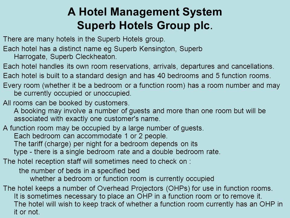 A Hotel Management System Superb Hotels Group plc. There are many hotels in the Superb Hotels group. Each hotel has a distinct name eg Superb Kensingt