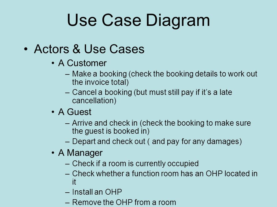 Use Case Diagram Actors & Use Cases A Customer –Make a booking (check the booking details to work out the invoice total) –Cancel a booking (but must still pay if its a late cancellation) A Guest –Arrive and check in (check the booking to make sure the guest is booked in) –Depart and check out ( and pay for any damages) A Manager –Check if a room is currently occupied –Check whether a function room has an OHP located in it –Install an OHP –Remove the OHP from a room