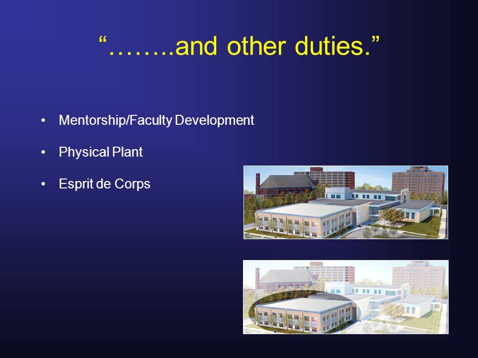 ……..and other duties. Mentorship/Faculty Development Physical Plant Esprit de Corps