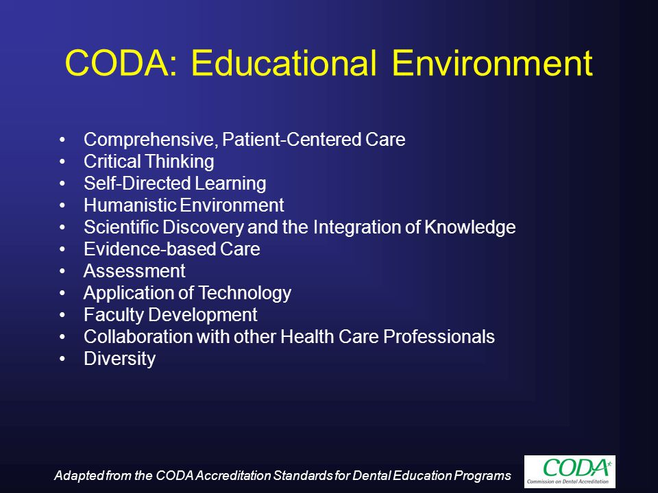 CODA: Educational Environment Comprehensive, Patient-Centered Care Critical Thinking Self-Directed Learning Humanistic Environment Scientific Discover