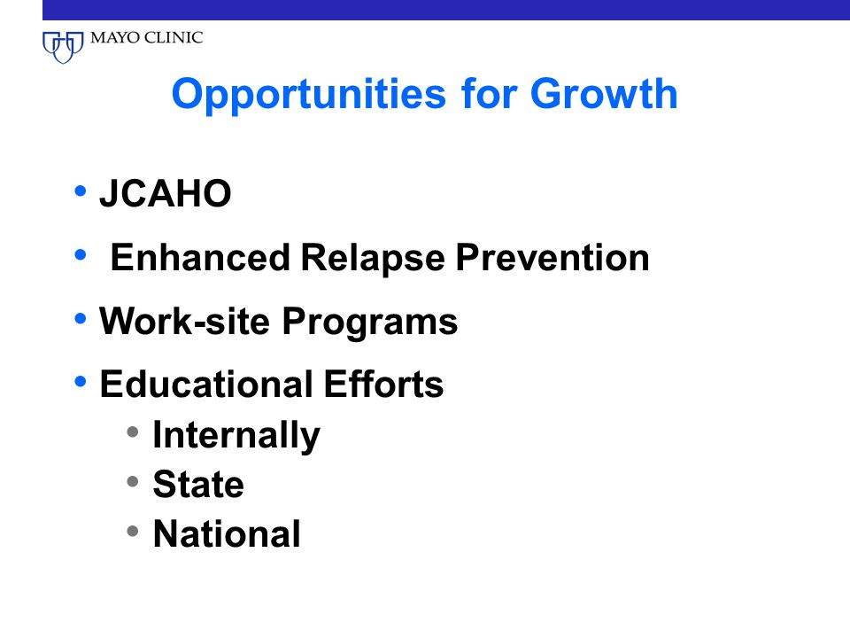 Opportunities for Growth JCAHO Enhanced Relapse Prevention Work-site Programs Educational Efforts Internally State National