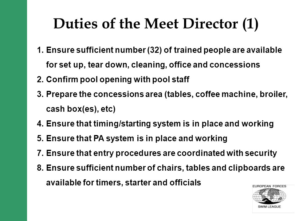 Duties of the Meet Director (1) 1.