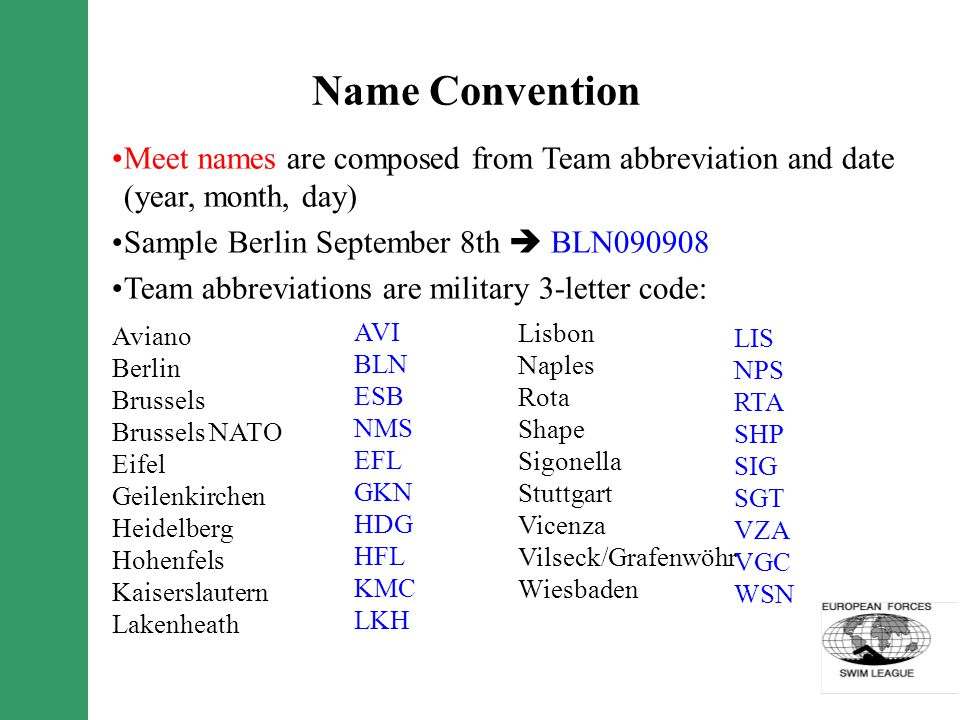 Name Convention Meet names are composed from Team abbreviation and date (year, month, day) Sample Berlin September 8th BLN090908 Team abbreviations ar