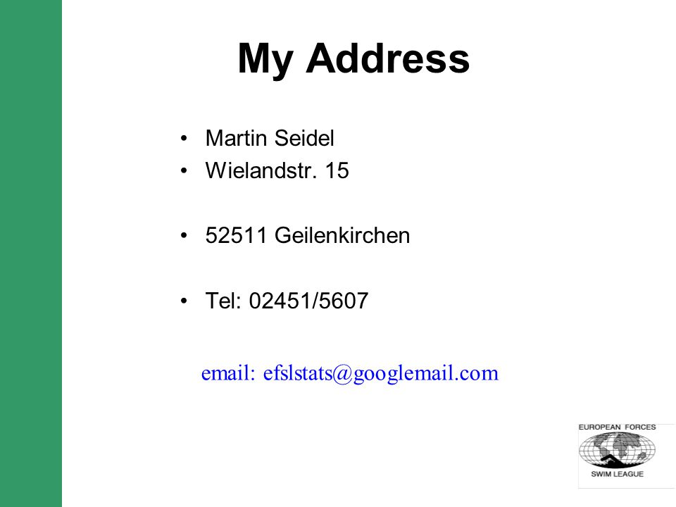 My Address Martin Seidel Wielandstr.