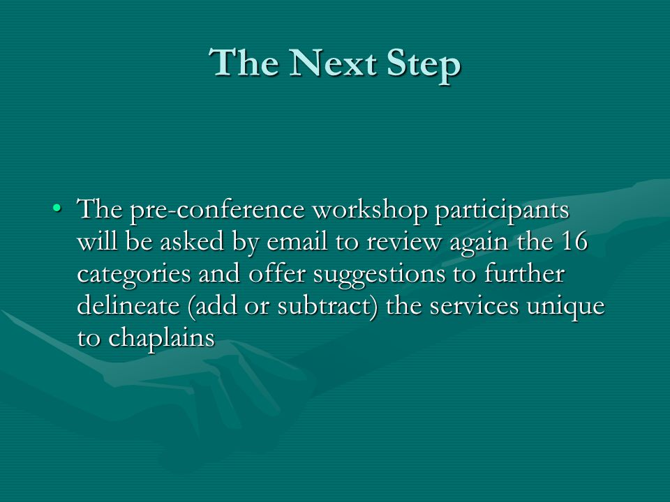 The Next Step The pre-conference workshop participants will be asked by email to review again the 16 categories and offer suggestions to further delin