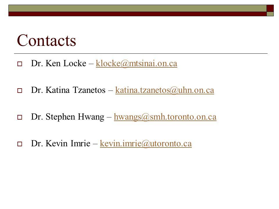 Contacts Dr. Ken Locke – klocke@mtsinai.on.caklocke@mtsinai.on.ca Dr.