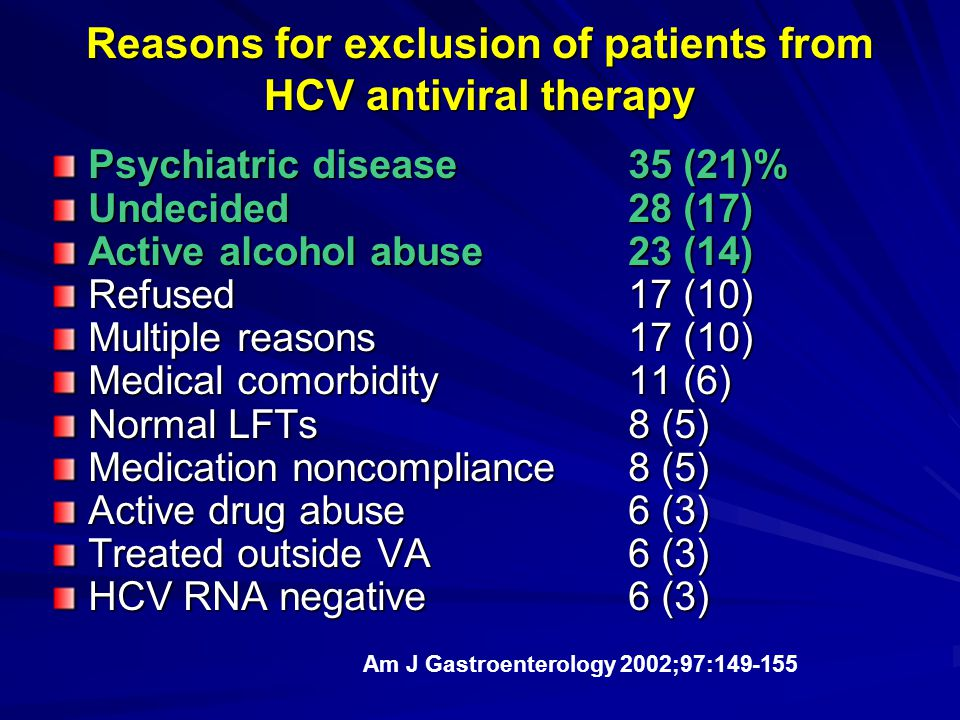 Reasons for exclusion of patients from HCV antiviral therapy Psychiatric disease35 (21)% Undecided28 (17) Active alcohol abuse23 (14) Refused17 (10) M